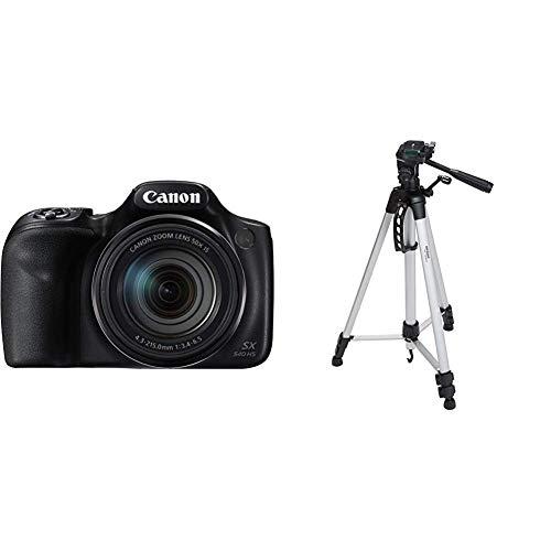 Canon PowerShot SX540 HS Digitalkamera (20,3 MPCMOS-Sensor, 50-Fach Ultrazoom, WiFi, Full HD) schwarz & AmazonBasics Leichtes Stativ, bis 1,52 m, inkl. Tasche, mit 3-Wege-Schwenkkopf und Wasserwaage