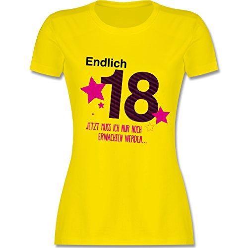 Geburtstag - Endlich 18 - M - Lemon Gelb - L191 - Damen Tshirt und Frauen T-Shirt - Verrückt Mens T-shirt