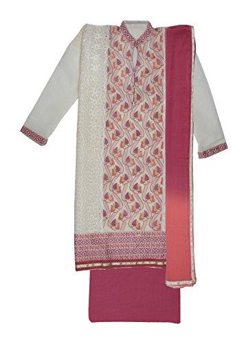 Ethnic Story Women's Kota Cotton Semi-stiched Salwar Suit (Cream and Mejanta)
