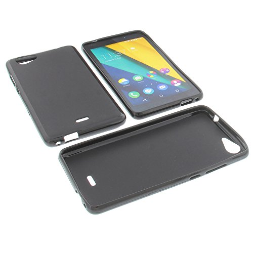 Tasche für Wiko Pulp Fab 4G Gummi TPU Schutz Hülle Handytasche schwarz