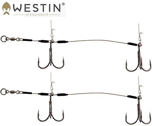 Westin Pro Stinger Double 1x7 12cm 40,8kg Gr. 1/0 - 2 Stingerhaken für Gummifische, Angsthaken für Gummiköder zum Hechtangeln