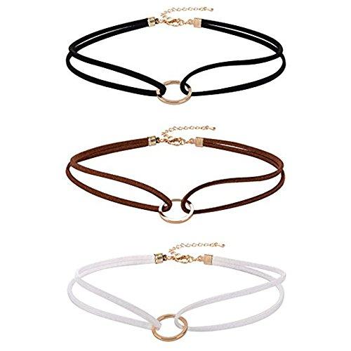 skitic-3-pieces-ras-du-cou-velours-choker-collier-necklace-couche-double-chokers-avec-anneau-clavicu