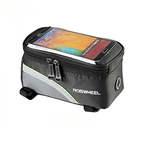 Road Mountain Bike Bag Pannier Classic Roswheel Mini Cycling Bicycle Front tube Bags For Men Women For iphone 4 5 6 7 Plus 8 8plus X Samsung Huawei Xiaomi OnePlus LG HTC Meizu Google Nexus, Both Sides With Reflective Tape,S M