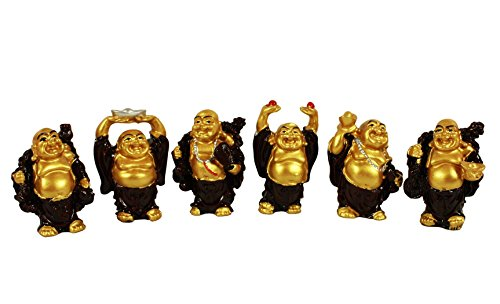 HAAC 6teiliges Juego Buda Sonriendo Amuleto Suerte Figura Color Oro/marrón 6c