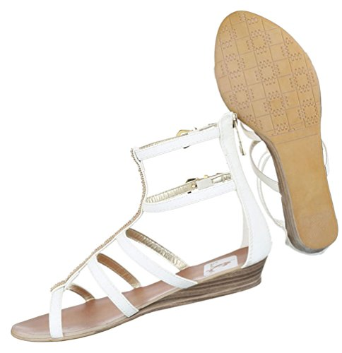 Damen Sandalen Schuhe Sommerschuhe Strandschuhe Riemchen Pumps Weiß Beige 36 37 38 39 40 41 Weiß