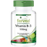 Vitamin B3 Niacin 500mg - GROSSPACKUNG für 100 Tage - VEGAN - HOCHDOSIERT - 100 Tabletten - Nicotinamid