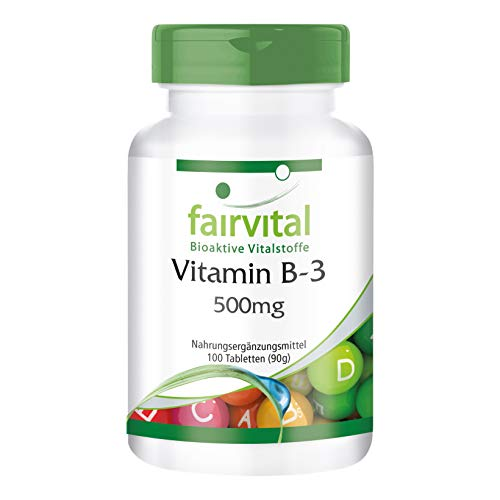 Vitamin B3 Niacin 500mg - GROSSPACKUNG - VEGAN - HOCHDOSIERT - 100 Tabletten - Nicotinamid