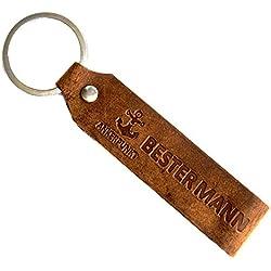 Ankerpunkt Schlüsselanhänger Leder mit Gravur Mann, Geschenk für Männer Geburtstag Jahrestag Voll-Rindleder Handmade in Germany (Dunkelbraun) Used Look