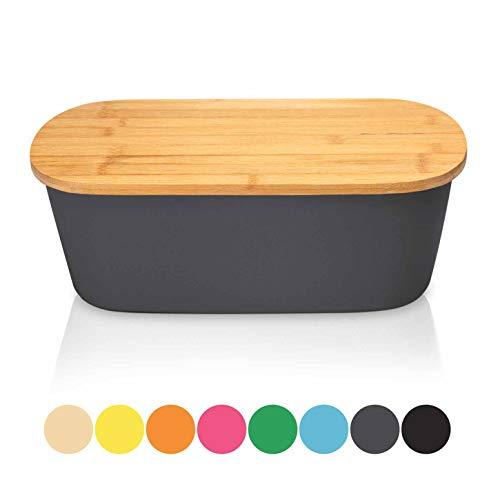 bambuswald© Brotbox mit integriertem Schneidebrett 38x21,5x12 cm - Brotdose   Brotkasten für Croissants, Brot o. Brötchen   Brotbehälter mit Küchenbrett   Brotbrett Grau