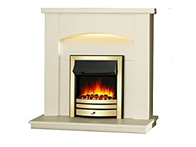 "Endeavour Fires New Cayton Electric 42""Fireplace Suite, fitted with Brass Trim and Fret, 220/240Vac 1&2kW with 7 day Programmable Remote Control in off white MDF fireplace suite."