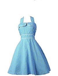 952c327f73f Robe Pin-Up Rockabilly 50 s Rétro bleu à Pois pour femme - Pentagramme -  Miss