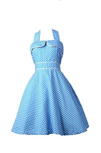 Robe Pin-Up Rockabilly 50's Rétro bleu à Pois pour femme - Pentagramme - Miss Marylin Bleu