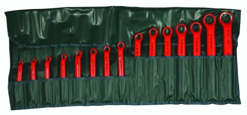 Offset Ring Wrench Set (Wiha 21093 Insulated Metric Deep Offset Angled 15 Degree Ring Wrench Set, 8mm - 32mm, 15 Piece in Rolled Up Pouch by Wiha)