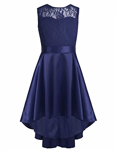 iEFiEL Kids Girls Lace High-Low Flower Girl Dress Princess Pageant Wedding Bridesmaid Prom Party Dress
