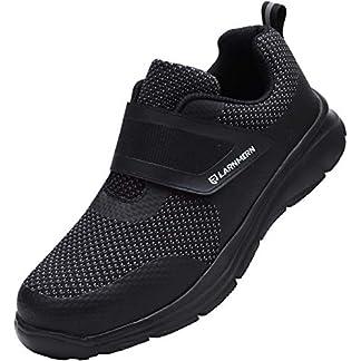 Zapatos de Seguridad Hombre Mujer, Punta de Acero Zapatos Ligero Zapatos de Trabajo Respirable Construcción Zapatos Reflexivo Botas de Seguridad LM-112