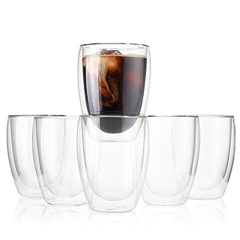 Sweese 4302 6-teiliges 350ml Doppelwandige Glaser Set Thermoglas mit Schwebe-Effekt, für Cocktails, Tee, Kaffee, Cappuchino, Latte Macchiato, Eis, Eistee, (Latte Macchiato Tasse)