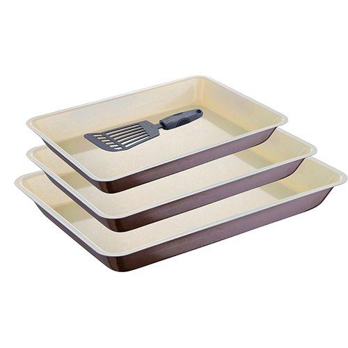 Grand Chef - Set de 3 moules/Plats spécial Four empilables (34, 31 et 28 cm) avec spatule en Nylon.