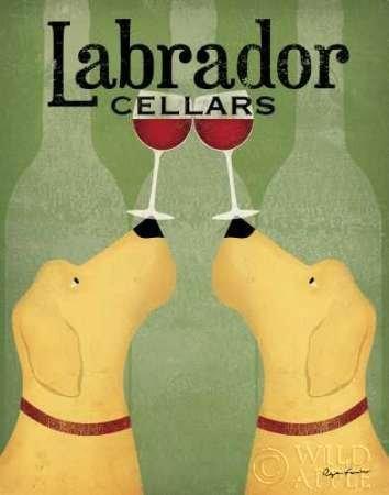 Feelingathome- imprimer-sur-toile-100%coton-Deux-Labrador-Wine-Dogs-cm67x53-affiche-reproduction-gravure-