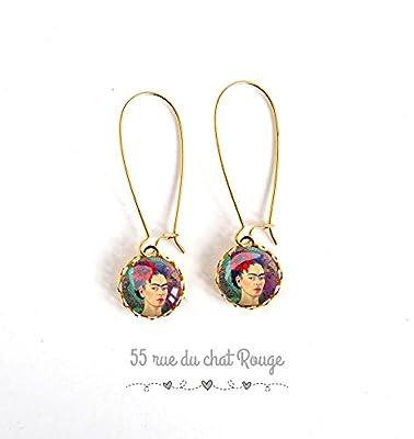 boucles d'oreilles dorées, à cabochon de verre, Cabochon Frida Khalo, portrait femme, Mexique, Coloré