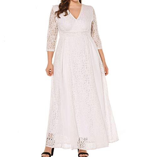 Luckycat Frauen Dreiviertelärmel Winters beiläufige Spitze Quaste mit V Ausschnitt Abendkleider Schwingenkleid Partykleider Blusenkleid Kleider