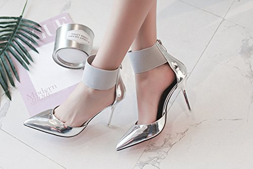 Aisun Damen Lack Kunstleder Spitz Zehen Stiletto High Heels Knöchelriemchen Sandale Mit Reißverschluss Silber