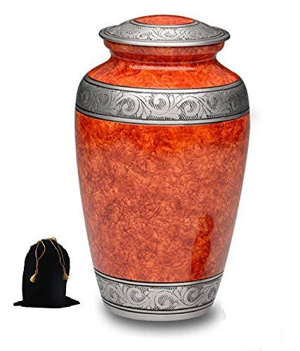 Hind Handicrafts Urne für Erwachsene für menschliche Asche, handgefertigt, groß, 19,1 x 19,1 x 24,1 cm, 200 lbs oder 91 kg, Beutel im Lieferumfang enthalten - Foto Urn Katze