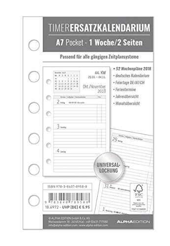 Timer Ersatzkalendarium A7 2018 - Bürokalender / Buchkalender - Universallochung - 1 Woche 2Seite - 128 Seiten