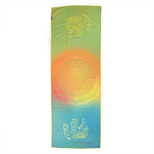 Bodhi Grip² Yoga Towel Art Collection Elephant Dreams, Rutschfest, Yogatuch lila/aubergine mit Noppen, Mikrofaser, ideal für Hot Yoga