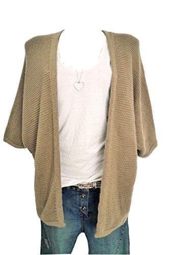 Damen Strickjacke open Front Cardigan Weste sand beige Einheitsgröße passend für M L 38 40 42 (932)