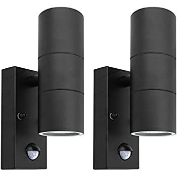 2 x black pir stainless steel double outdoor wall light with 2 x black pir stainless steel double outdoor wall light with movement sensor ip44 up aloadofball Choice Image