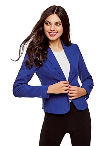 RIFICZECH s.r.o. oodji Ultra Damen Taillierter Blazer Basic, Blau, DE 32 / EU 34 / XXS