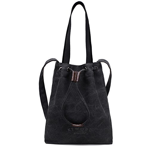 BYD - Donna School Bag Borse Tote Bag Travel Bag secchiello Bag Canvas Bag Borse a mano Borse a spalla Shopping Bag with Multi Strap Nero