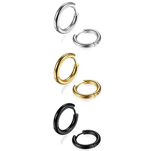 Oidea Damen Herren Ohrstecker Set (3 Paare), runde Kreis Creolen Ohrringe ohne Loch Fake Clip Ohrpiercing Non Piercing Schmuck, schwarz silber gold (18mm)