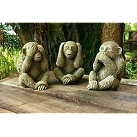 Amazon london ornaments animals garden sculptures set of 3 reconstituted stone monkey garden ornaments see no evil hear no workwithnaturefo
