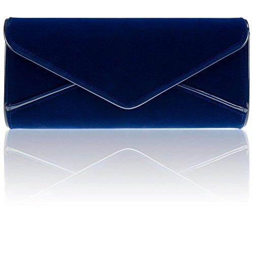 Zarla grande da donna, in ecopelle scamosciata, da donna, per abiti da sera-Borsetta a forma di busta Blu (Blu Royal)