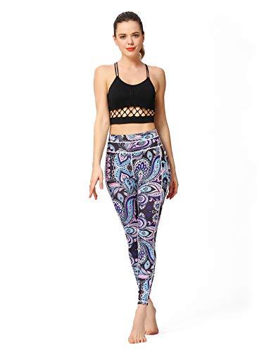 Yogahosen Frauen Gedruckt Yogahosen Sport Training Laufen Leggings Power Flex Yoga Leggings Feder Frau (Color : Cannibal Flower, Size : S-EUR) - Beschnitten Spandex-leggings