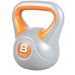 GORILLA SPORTS Kettlebell Stylish 2-20 kg Kunststoff Einzeln/Set – Fitness-Kugelhantel 8 kg Orange