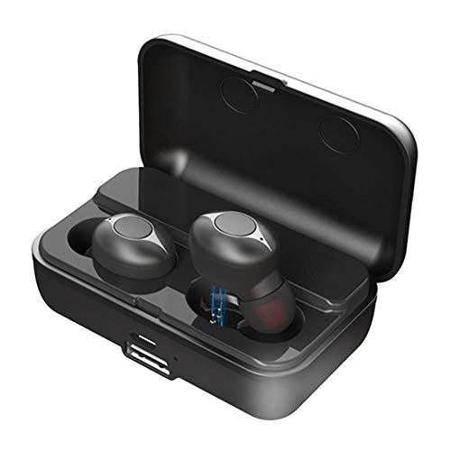 knowledgi F9 TWS Bluetooth Headset V5.0 Binaural Wireless Stereo In Ear Headphones Sports Earbuds with Microphone - Black-box Quick Connect