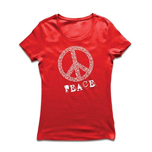 irt FRIEDENSsymbol - 1960er Jahre 1970er Jahre Hippie Hippie, Street-Kleidung, Friedenszeichen, Sommer Festival Hipster Swag (XX-Large Rot Mehrfarben) (Hi 5 Kostüm)