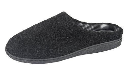 New Mens Gents Mule Slippers Hard Weaing Sole BLACK Size 7 -...