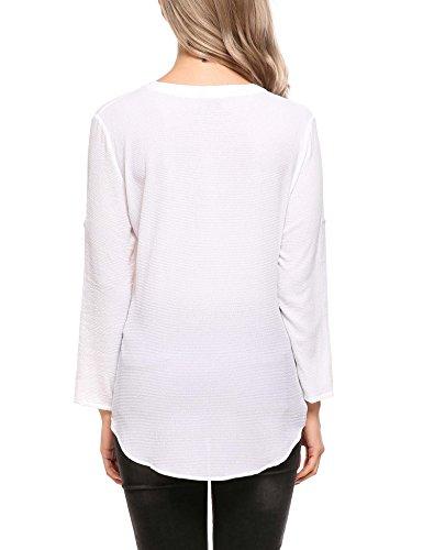 Beyove Damen Vintage Blumen Blusenshirt Casual Langarm Chiffon Bluse Tunika Tops mit Reißverschluss Weiß1