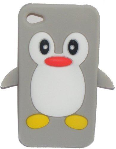 EWR Cute 3D Gel Gummi Silikon Pinguin Vogel Schutzhülle für iPhone 44S (grau) - 4s Gel