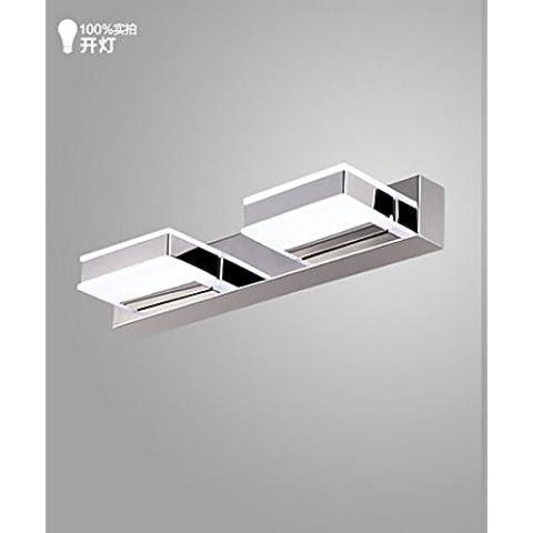 midtawer Acero inoxidable impermeable LED se enciende una lámpara ante el espejo del baño espejo vestidor lavabos wc apliques de luz , 2 cabeza cuadrada de 6W, es