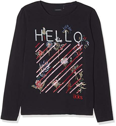 IKKS Junior T- Shirt Hello À Sequins ET Broderies, Fille, Bleu (Navy 48), 14 Ans (Taille Fabricant: 14A)