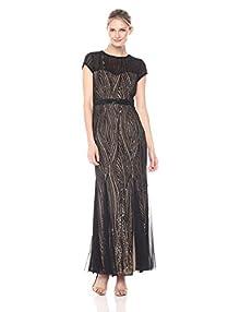 e21bd69f848 Cachet Women s Short Sleeve Sequin Illusion Gown