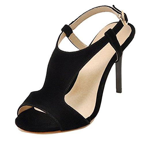 AIYOUMEI Damen Knöchelriemchen Wildleder Peep Toe Sandalen mit Schnalle Stiletto High Heels Elegant Abend Sommer Schuhe Schwarz