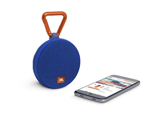 JBL Clip 2 Wasserdichter Tragbarer Wiederaufladbarer Lautsprecher mit IPX7 Wasserschutz, Aux-Konnektivität und Integrierter Freisprechfunktion - Blau -