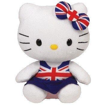 "Hello Kitty - Union Jack Dress Plush - TY Beanie - 15cm 6"""