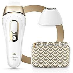 Braun Silk·Expert Pro 5 PL5137 Épilateur Lumière Pulsée Intense IPL Dernière Génération Pour Femme et pour Homme, Épilation Permanente, Blanc/Doré
