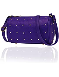 Blue Sling Bag With Metal Rivets| Adjustable Strap | Zip Closure | Daily Wear Sling Bag For Women - Gift For Mothers...